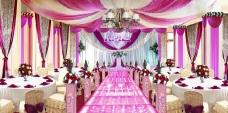 紫色布幔婚礼效果图