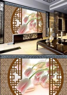浪漫玫瑰花背景墙