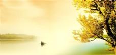 秋天湖边暮色风景
