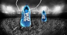 运动鞋特效 跑鞋 草地 绿茵