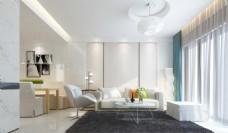 简约白色清新客厅设计图
