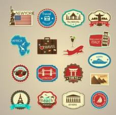17款环球旅行复古标签设计矢量