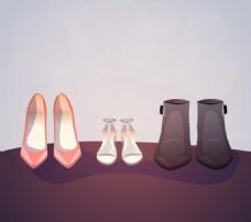 女式鞋子矢量素材