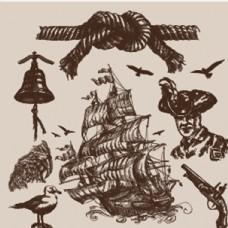 海洋主题手绘图案矢量素材