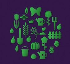 时尚绿色花园图标