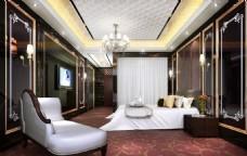 五星级酒店客房卧室效果图