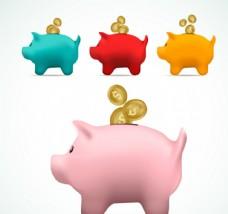 彩色猪储蓄罐矢量图