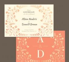 花卉装饰婚礼邀请卡正反面矢量图