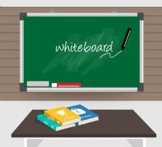 卡通黑板与课桌背景矢量素材