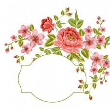 水彩  花朵花框