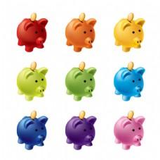 彩色小猪储蓄罐矢量素材