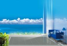 蓝色海边沙发场景