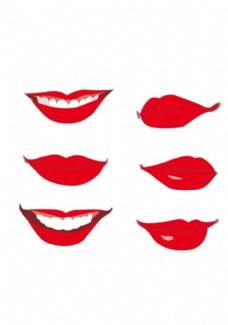嘴巴素材 红唇 矢量