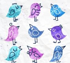 水彩绘鸟儿