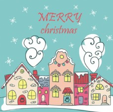 手绘圣诞村庄