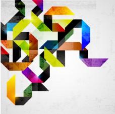 炫彩折纸背景矢量素材