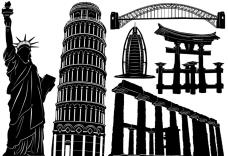 自由女神像比萨斜塔神户旧金山桥