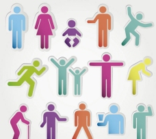 彩色人物贴纸