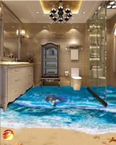 3D卫浴地板装饰效果图