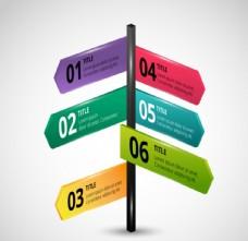 彩色十字路牌商务信息图