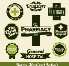 复古绿色医疗标签矢量图