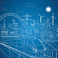 城市高铁插画