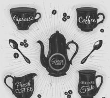 手绘咖啡器具