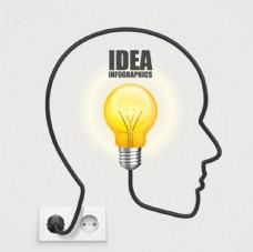 大脑里的灯泡矢量素材