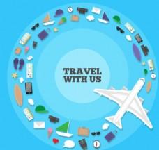 创意旅行元素组合圆环