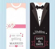 创意新娘与新郎婚礼邀请卡