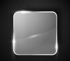 方形玻璃标签金属背景