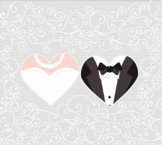 心形新郎新娘花纹背景