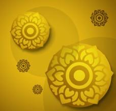 金色花朵圆盘背景