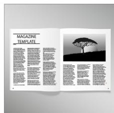 打开杂志的空白页模板