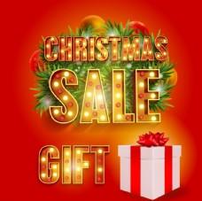 圣诞霓虹灯字体促销大卖卡通