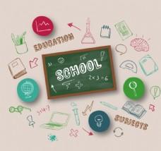 創意彩繪校園元素背景