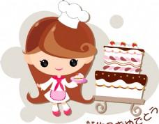 女孩蛋糕矢量素材
