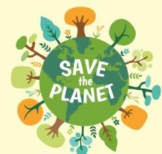 卡通保护地球 插画