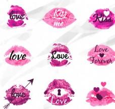 紫色水彩 LOVE唇印