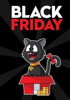 礼盒中的黑猫