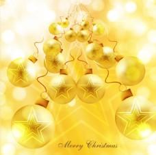 明亮的金色圣诞装饰物背景