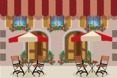 室外咖啡馆餐厅设计矢量素材