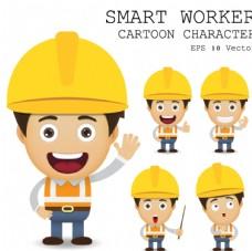 卡通建筑工人