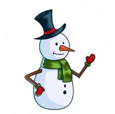 卡通戴礼帽的 雪人
