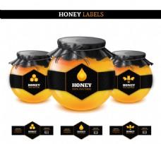 黑色蜂蜜标签矢量