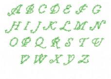 绿色树叶字母