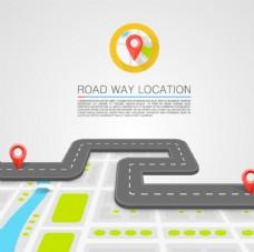 道路上的导航定位插画
