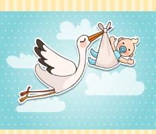 送子鹤与婴儿贴纸