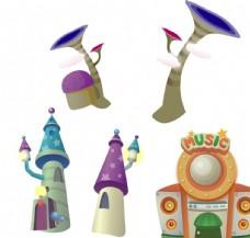 卡通城堡 喇叭