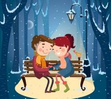 冬日路灯下的情侣